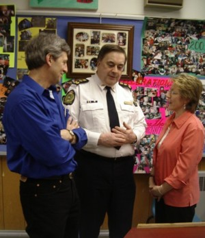 Barry and Barb with the Chief of Police, Edgar MacLeod